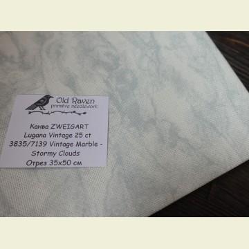 Канва 25 ct. Vintage Lugana 3835/7139 (мраморный неоднотонный) Vintage Marble/Stormy Clouds отрез 35х50
